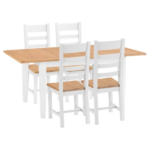 Chester White Painted Oak 1.2m Butterfly Extending Table & 4 Wooden Seat Chairs