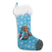 Blue Snowflake Fabric Christmas Stocking with Bear