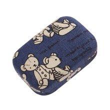 Portable Contact Lenses Cases Plastic Lenses Holder (Dark Blue, Bear Pattern)