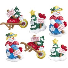 "Bucilla Felt Ornaments Applique Kit 4""X5"" Set of 6-Snow Garden"