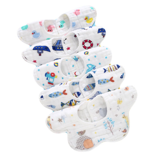 360° Rotatable Baby Soft Cotton Saliva Towels for Toddler and Kids 5 Packs