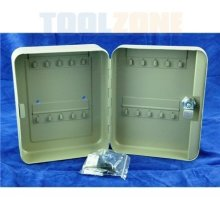 Toolzone 20 Hook Key Lockable Metal Cabinet / Holder Comes With 2 Keys -  key cabinet metal 20 hook lockable locking wall security case box safe