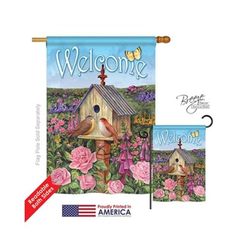 Breeze Decor 00049 Welcome Bird House 2-Sided Vertical Impression House Flag - 28 x 40 in.