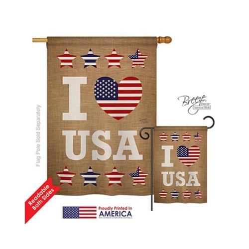 Breeze Decor 11067 Patriotic I Love USA 2-Sided Vertical Impression House Flag - 28 x 40 in.