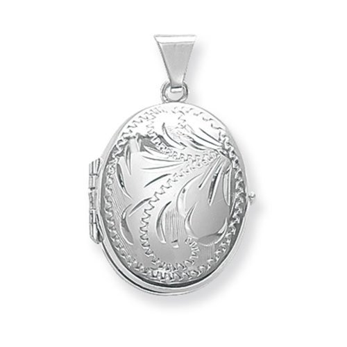 Childrens Sterling Silver Small Full Engraved Family Oval Locket On A Curb Necklace
