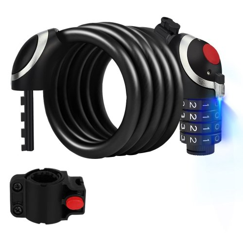 Oladwolf Bike Lock Bicycle Lock with LED Night Light 4-Digit Cable Lock Combination bike lock cable, Security Chain Anti-theft Bicycle Lock,...