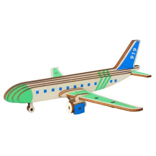 Children's Wooden Puzzle Stereo 3D Simulation Toy Model, Airliner Block (27 Pcs)