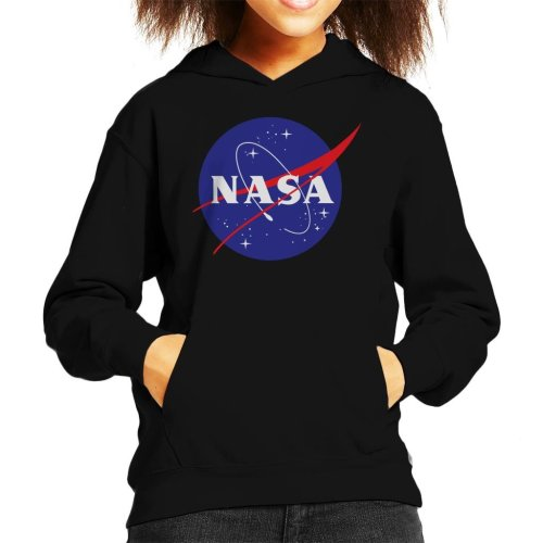 (Large (9-11 yrs), Black) The NASA Classic Insignia Kid's Hooded Sweatshirt