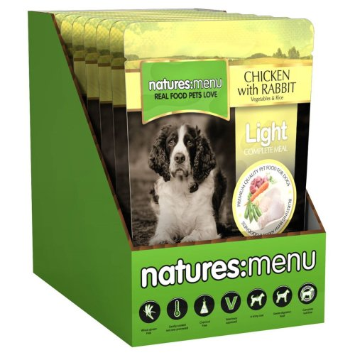 Natures Menu Dog Light Pouch With Chicken & Rabbit 300g (Pack of 8)