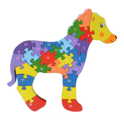 Wooden Block Animal Letter Figure Baby Early Childhood Puzzle Toy ( Horse )