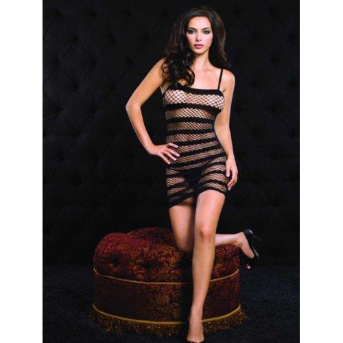 Leg Avenue Black Stripped Netted Mini Dress One Size