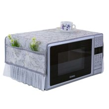 Elegant Microwave Oven Dust Cover Dustproof Cloths with Pockets Leaves Grey