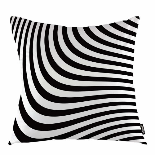"""Melyaxu Wave Throw Pillow Cover Black White Lines Water Wave Decorative Square Pillow Case 18""""X18"""" Pillowcase Home Decor for Sofa Bedroom"""