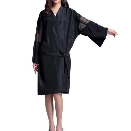 Professional Hair Salon Cape Waterproof SPA Kimono Bath Robe-Black