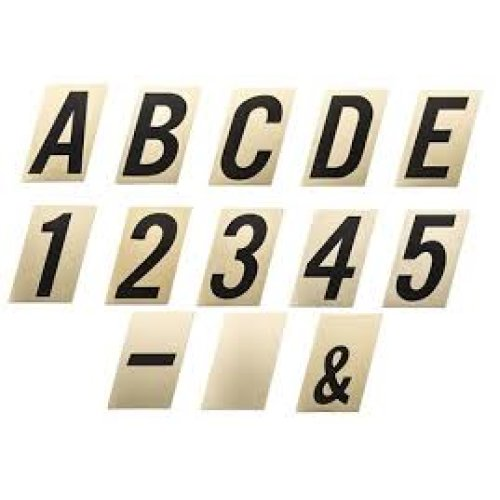 90mm black on gold self adhesive numbers and letters