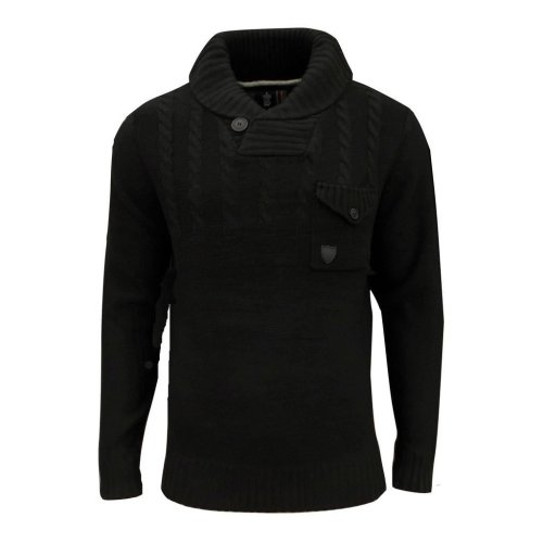 Soul Star Men's Chatsworth Shawl Neck Cable Jumper