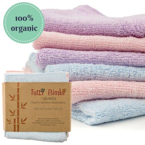 Organic Bamboo Baby Washcloth Flannels - Best for Sensitive Skin/Eczema