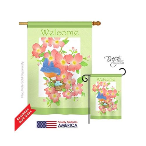 Breeze Decor 00054 Welcome Blue Bird Welcome 2-Sided Vertical Impression House Flag - 28 x 40 in.