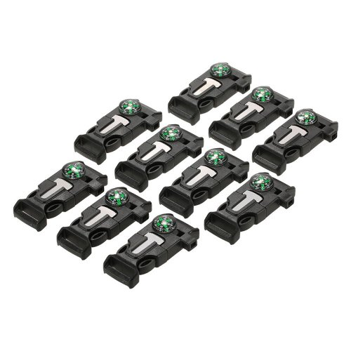Lixada 10PCS Plastic Whistle Quick Release Buckle Flint Fire Starter for Paracord Bracelet Outdoor Camping Emergency Survival Buckle