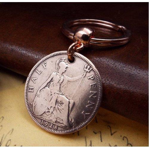 1928 Worn British Ha'penny  Coin Keyring Birthday Gift