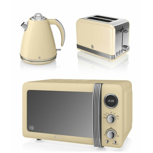 Swan Cream Retro Stylish Digital 20 Litre Microwave, 1.5 Litre Jug Kettle & 2 Slice Toaster