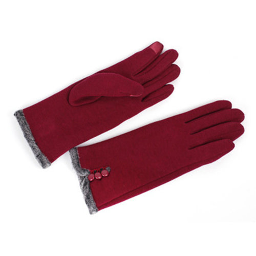 1 Pair Touch Screen Women Winter Warm Gloves Thicken Full Finger Gloves Red