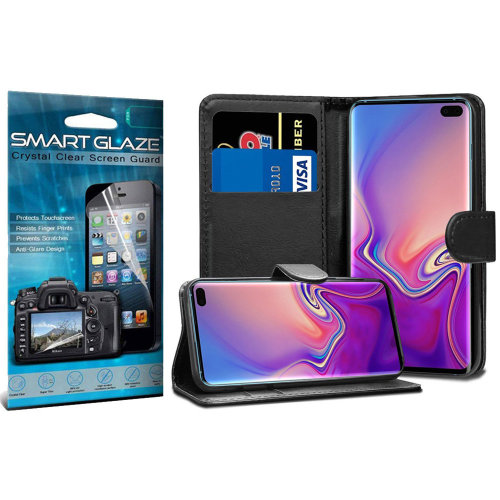i-Tronixs - Black Stand Wallet PU Leather Case+Smart Glaze Screen Protector for Samsung Galaxy S10 Plus