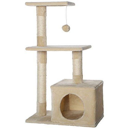 dibea Cat Tree Activity Centre Sisal Climbing Toy, 80 cm, Beige