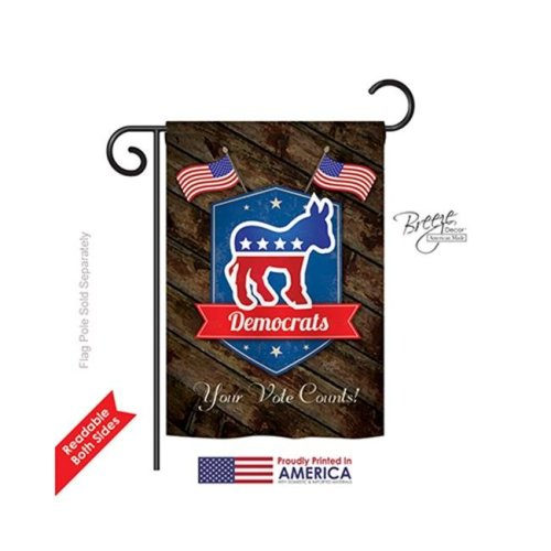 Breeze Decor 61070 Patriotic Democrats 2-Sided Impression Garden Flag - 13 x 18.5 in.