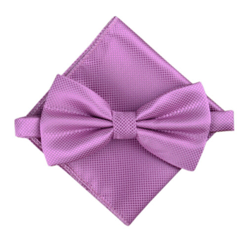 Stylish Wedding Bow Tie Pocket Square Pocket Cloth Handkerchief Purple