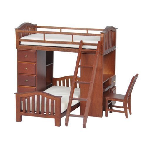 Miniature Students Walnut Bunkbed Loft sold at Miniatures