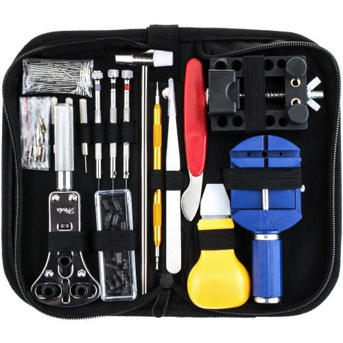 Watch Repair Tool Kit Solid Hammer Spring Bar Tool Watchmaker Opener Remover - Watch Band Link Pin Tool Set With Carrying Case 147PCS