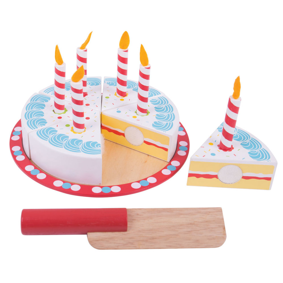 Bigjigs Toys Wooden Birthday Cake With Candles
