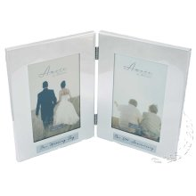 50th Wedding Anniversary Silverplated double photo Frame. then & Now Amore by Juliana