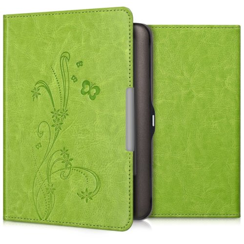 kwmobile Case for Tolino Shine - Book Style PU Leather Protective e-Reader Cover Folio Case - Light Green