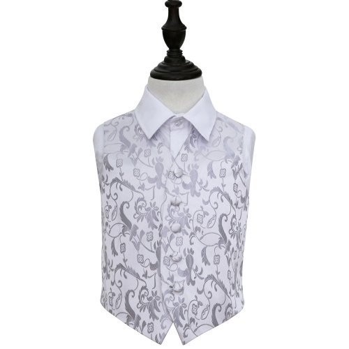 Silver Floral Wedding Waistcoat for Boys 22'