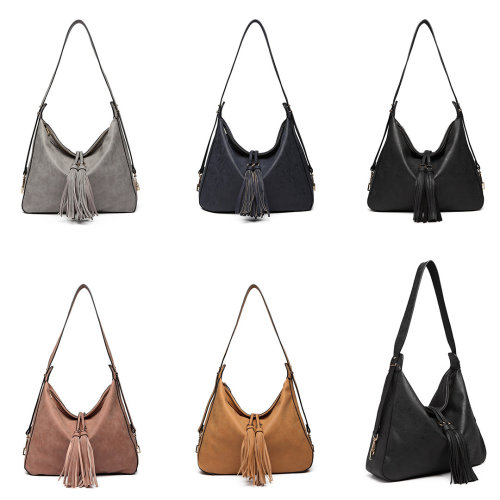 Miss Lulu PU Leather Slouchy Tassel Shoulder Bag on OnBuy 6b6773a2d0234