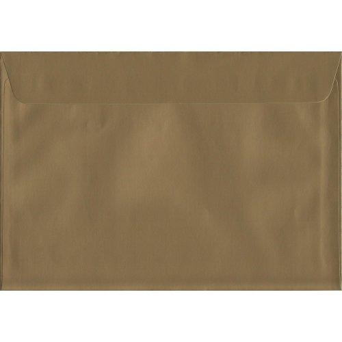 Metallic Gold Peel/Seal C4/A4 Coloured Gold Envelopes. 130gsm Luxury FSC Certified Paper. 229mm x 324mm. Wallet Style Envelope.