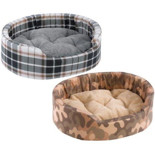 Dandy Cotton & Fur Tartan Bed Mixed Colours 45x35x13cm X2 (Pack of 2)