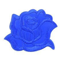 9PCS Embroidered Fabric Patches Sticker Iron Sew On Applique [Rose Blue]