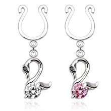 Crystal Swan Fake Faux Clip On Nipple Bar