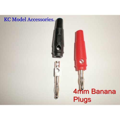 4mm Solderless Banana Charger Plugs x 2 pieces