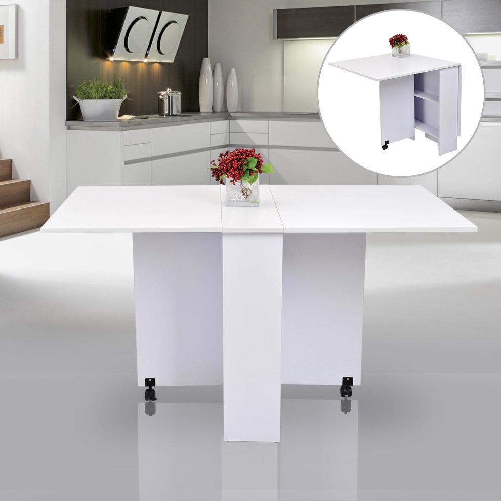 Homcom Mobile Drop Leaf Dining Kitchen Table Folding Desk