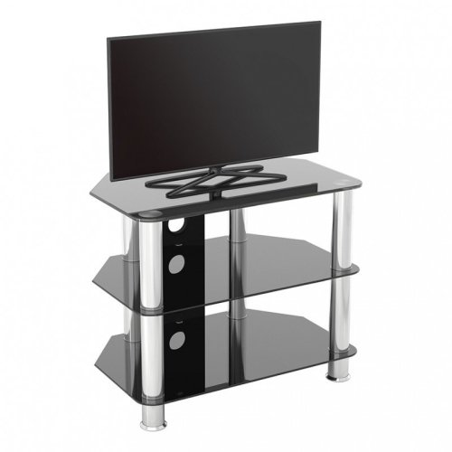 """King Glass TV Stand 60cm, Chrome Legs, Black Glass, Cable Management, for TVs up to 32"""""""