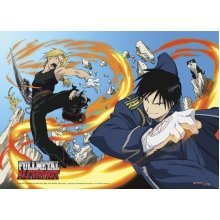 Fullmetal Alchemist Ed and Roy with Fire Wall Scroll GE 9597