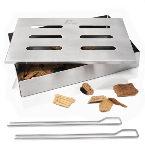 Amazy Smoker Box incl. 2 Metal Skewer Sticks – Gives Meat And Vegetables Traditional American BBQ Flavour