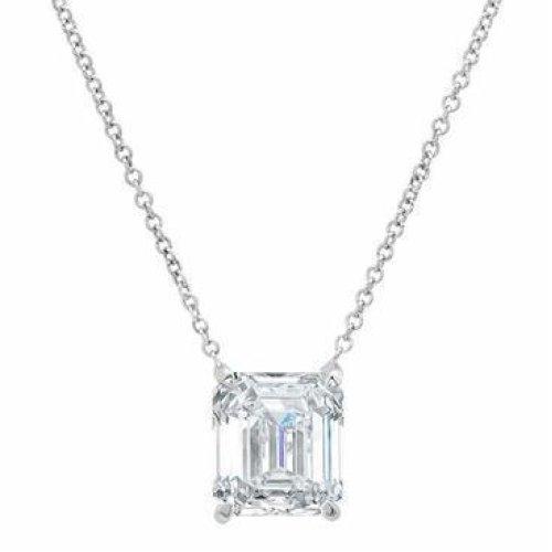 Emerald Cut White Gold 14K Solitaire Diamond Necklace Pendant  1Ct