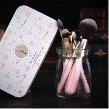 7Pcs Makeup Brushes Kit Wooden Handle Blusher Foundation Eyeshadow Eyeliner Brush Cosmetic Tool