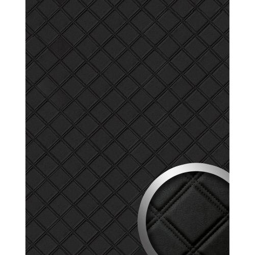 WallFace 15030 ROMBO Wall panel leather square self-adhesive black | 2.60 sqm