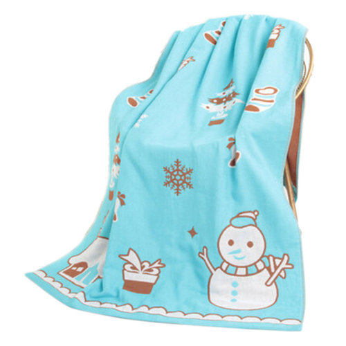 Large Soft Beach Towels 140*70cm Snowman Pattern, Blue